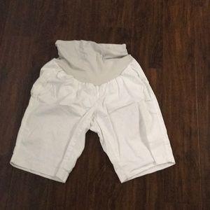 White maternity large shorts